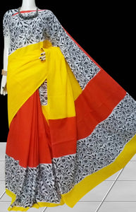 Yellow & Red color soft cotton saree with block print work