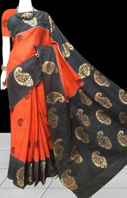 Orange & Black color soft cotton saree with block print work