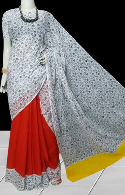 Red, White & Yellow color soft cotton saree with block print work