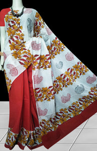 Maroon & White color soft cotton saree with block print work