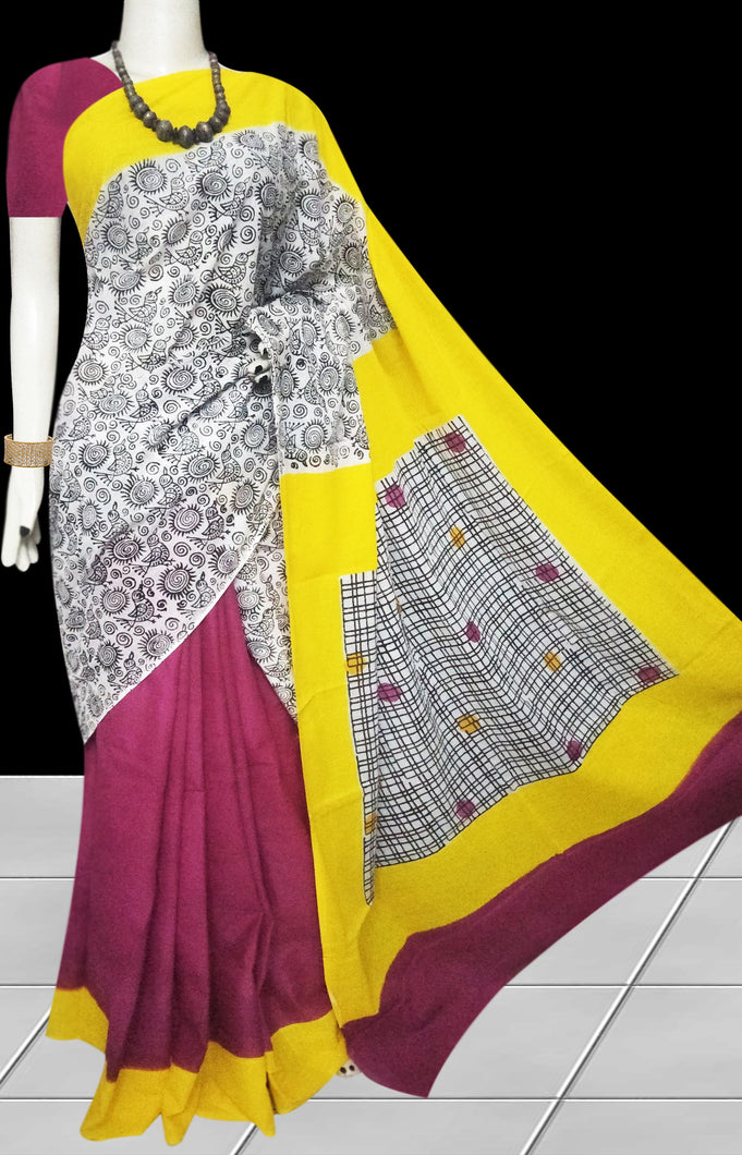 Pink, White & Yellow color soft cotton saree with block print work