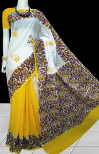White & Yellow combination soft cotton saree with block print work