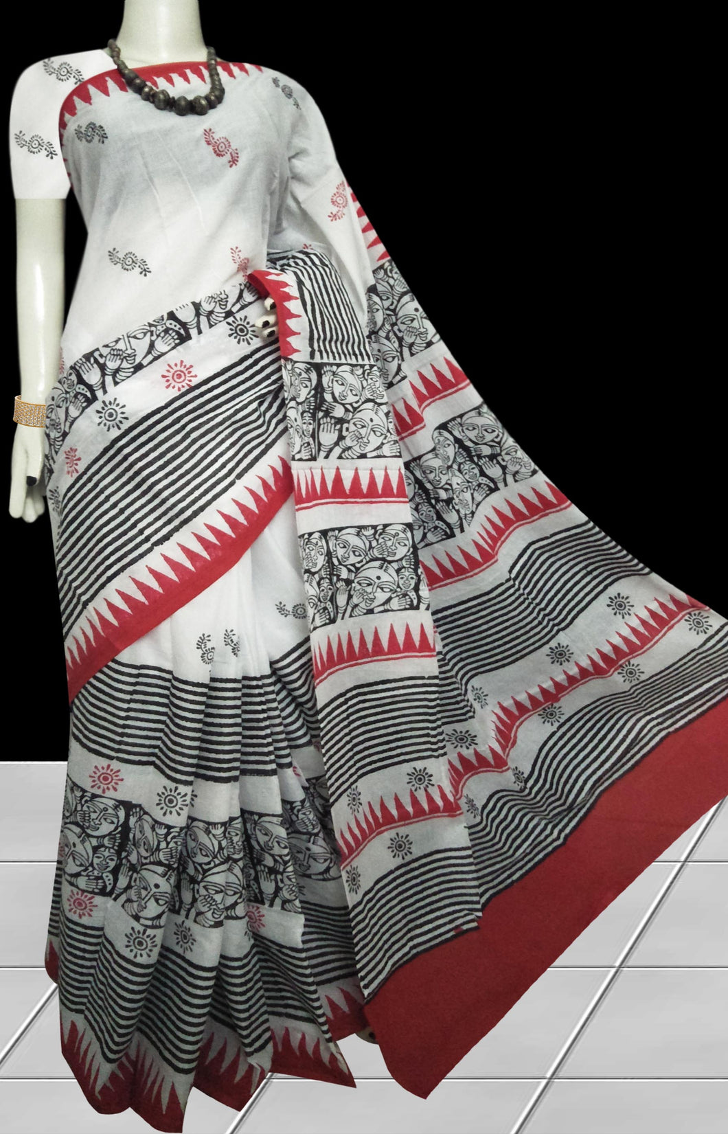 Multicolor combination soft cotton saree with block print work