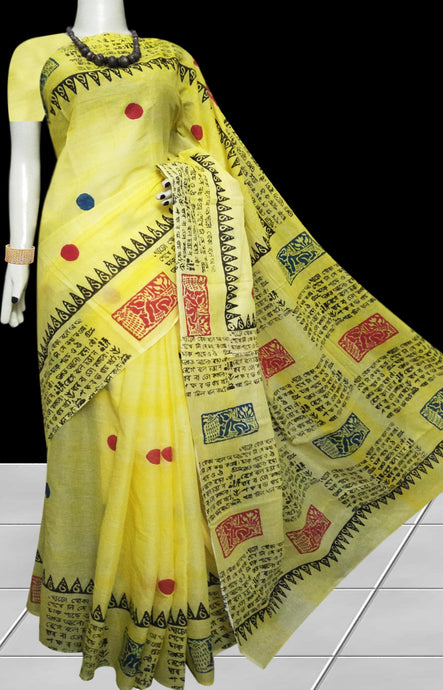 Light Yellow combination soft cotton saree with block print work