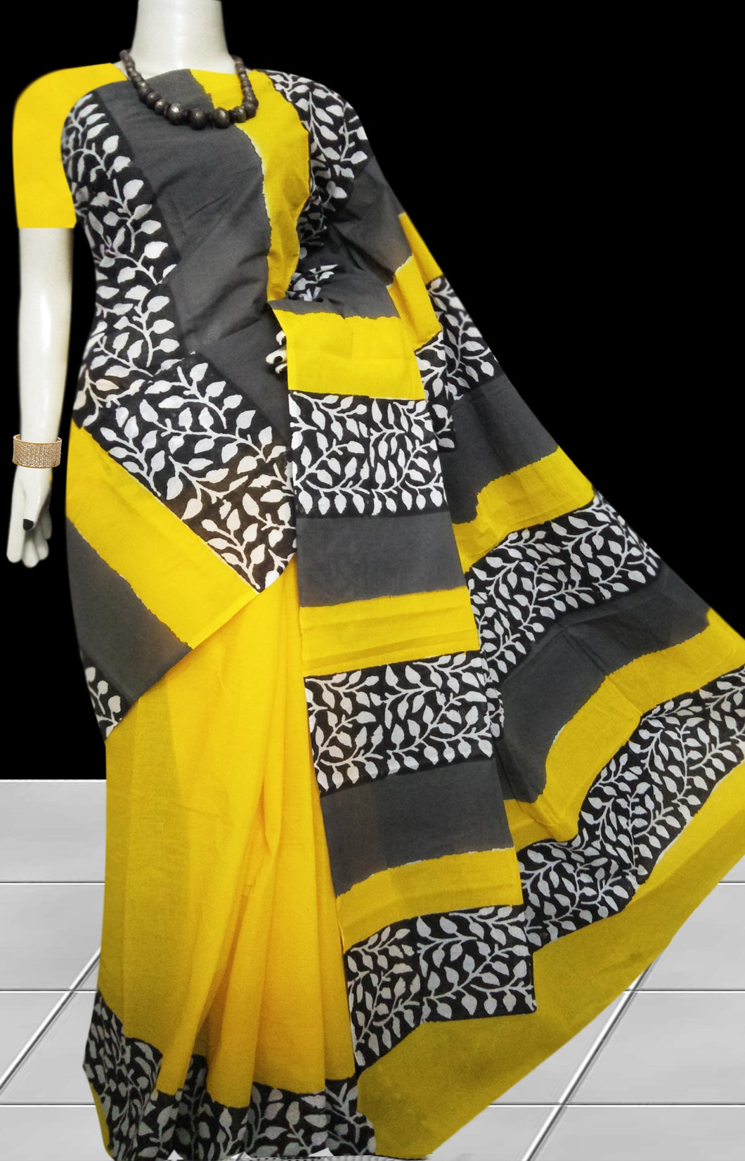 Yellow & Black combination soft cotton saree with block print work