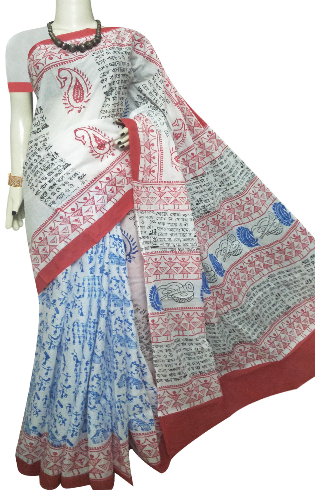 White & Blue combination soft cotton saree with block print work