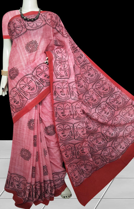 Pink color soft cotton saree with block print work