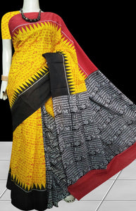Red, Yellow & Black combination soft cotton saree with block print work