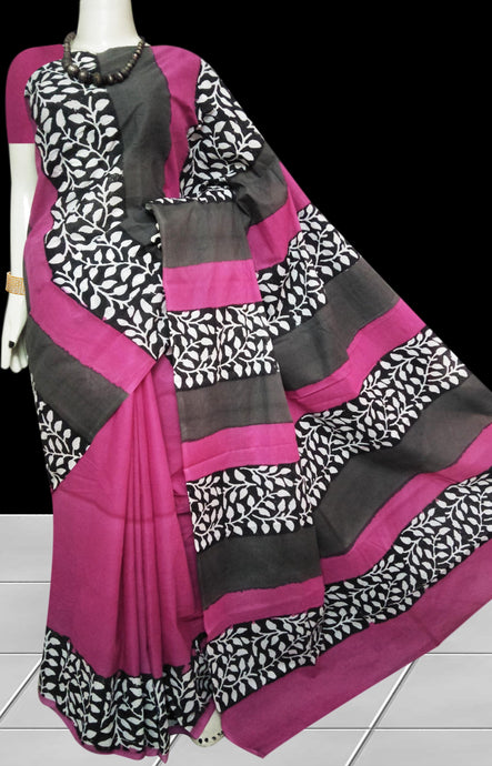Pink combination soft cotton saree with block print work
