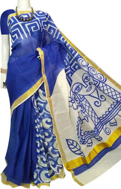 Beautiful Block Printed Blue & White Color Kerala Cotton Saree