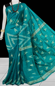 Rama Green Color Cotton silk handloom saree with Arrow pattern ghicha work