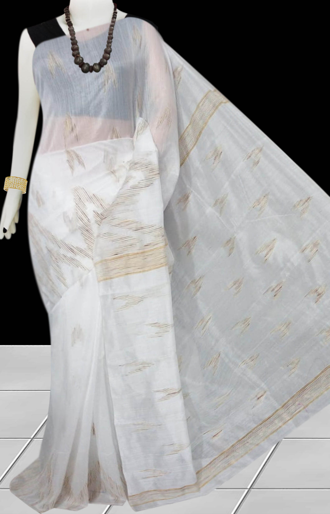 White Color Cotton silk handloom saree with Arrow pattern ghicha work