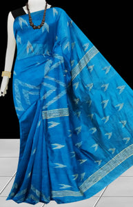 Ink Blue Color Cotton silk handloom saree with Arrow pattern ghicha work