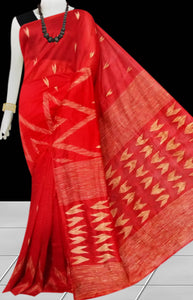 Red Color Cotton silk handloom saree with Arrow pattern ghicha work