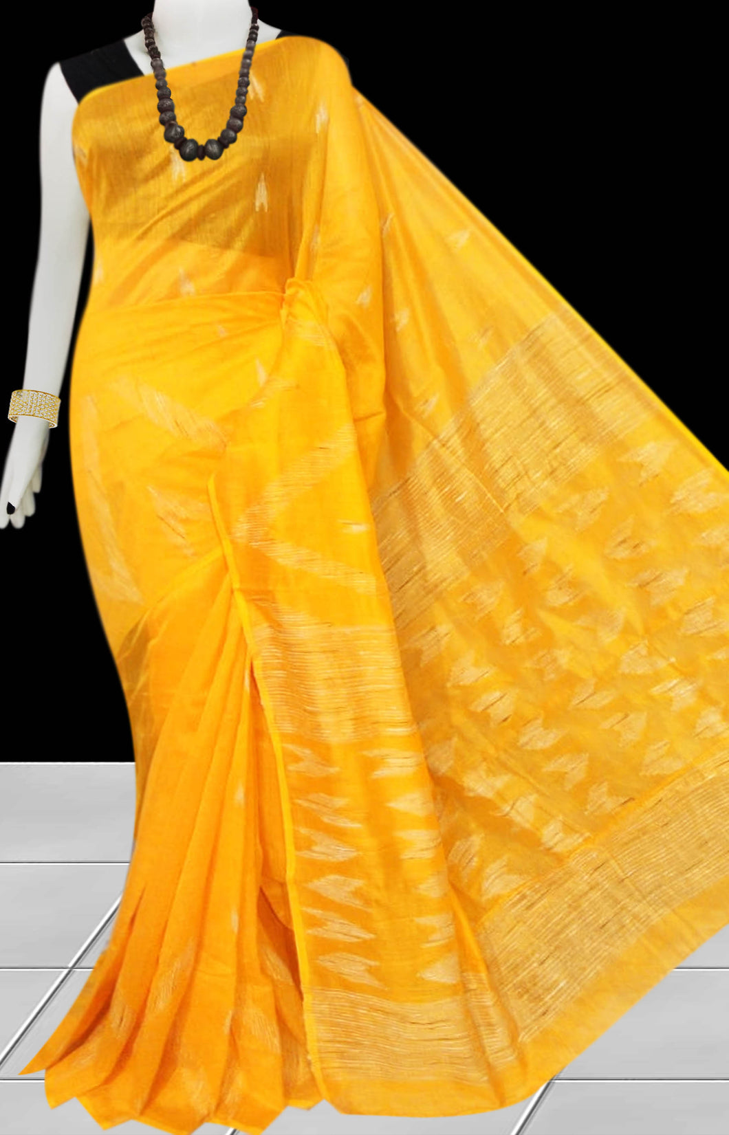 Yellow Color Cotton silk handloom saree with Arrow pattern ghicha work