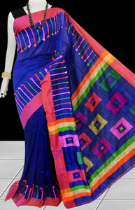 Royal Blue Base Color cotton silk Handloom saree