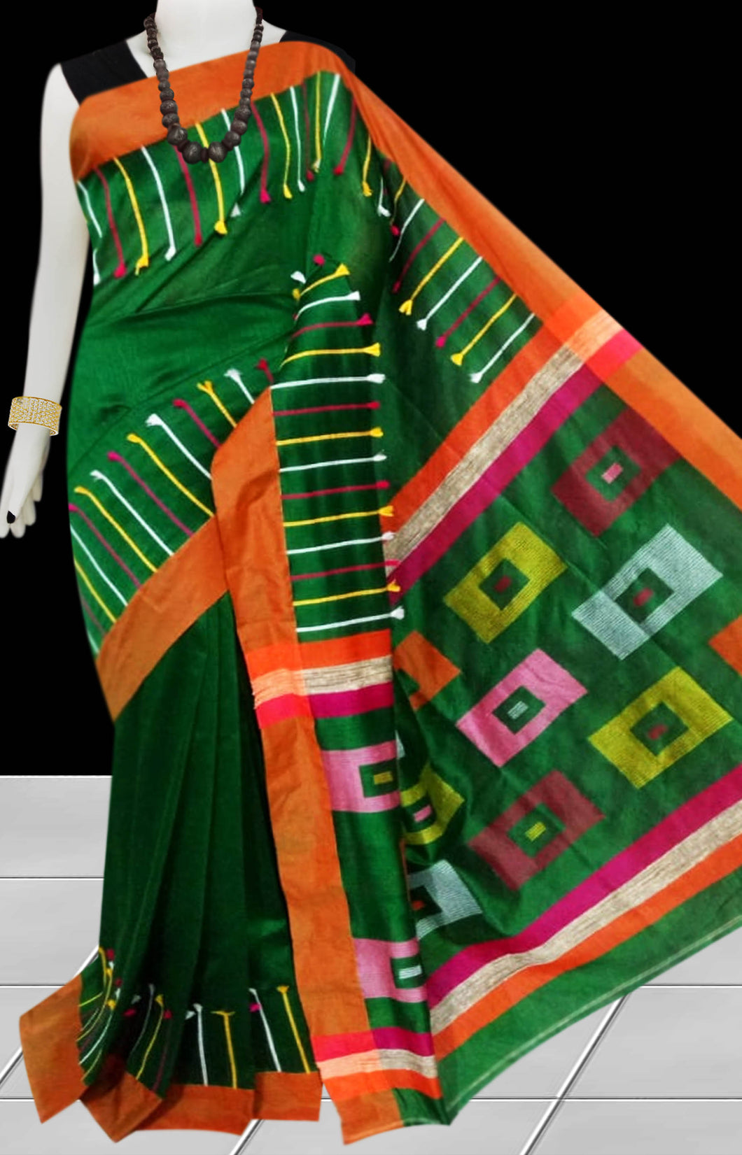 Bottle Green Base Color cotton silk Handloom saree decorated with box