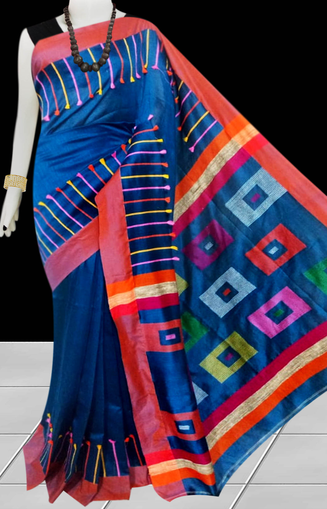 Ink Blue Color cotton silk Handloom saree decorated with box