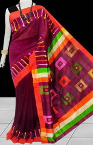 Maroon Color cotton silk Handloom saree decorated with box