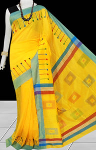 Yellow & Sky Blue Color cotton silk Handloom saree decorated with box