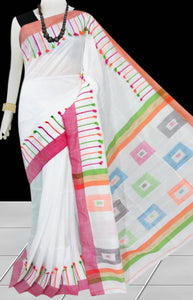 White Color cotton silk Handloom saree decorated with box