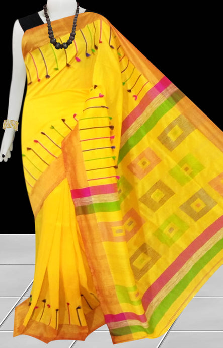 Yellow & Red Color cotton silk Handloom saree decorated with box