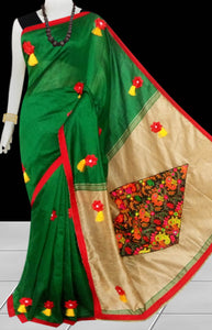 Green & Beige Color cotton silk saree decorated with flower patch work