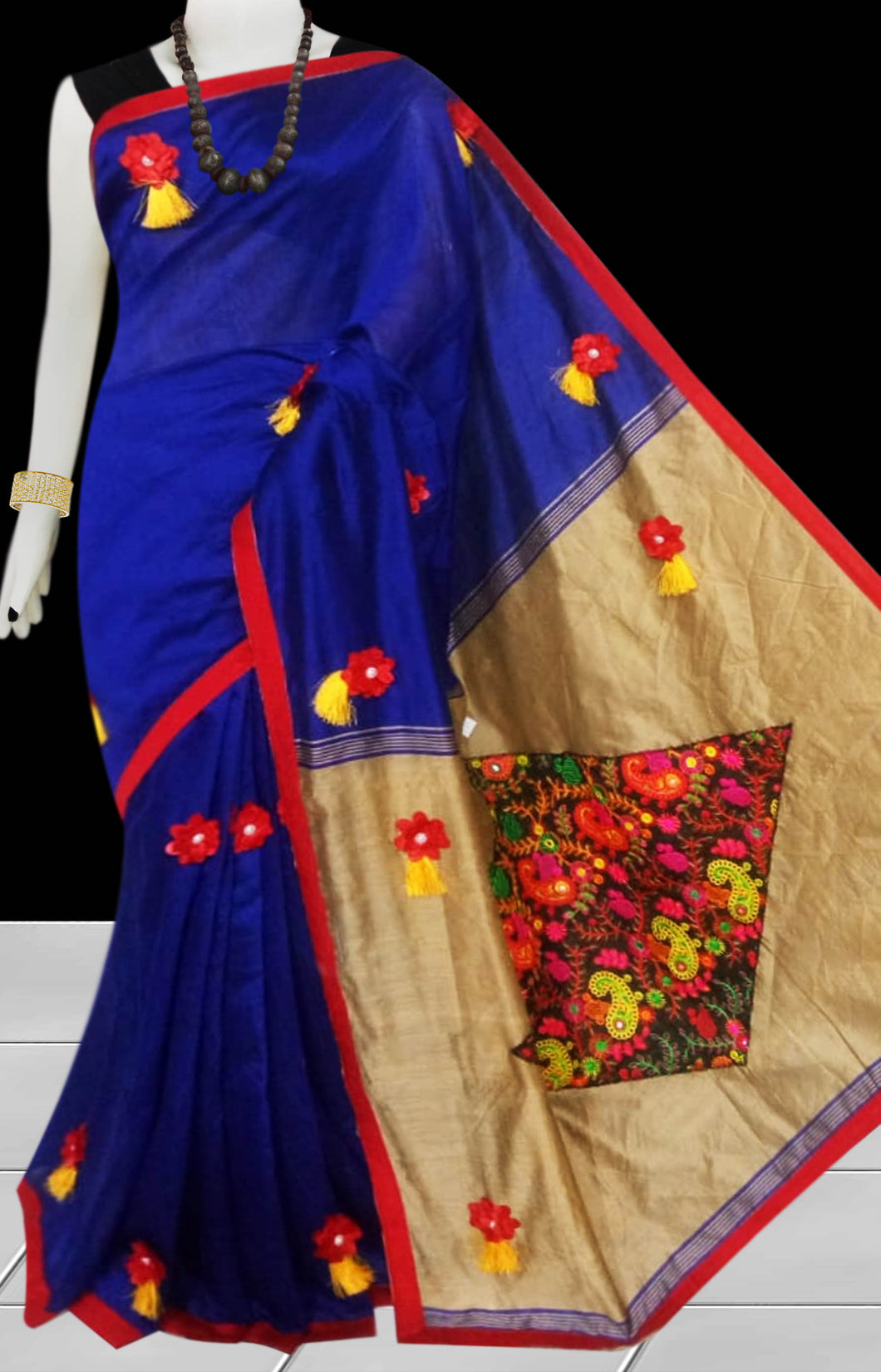 Royal Blue & Beige Color cotton silk saree decorated with flower patch work