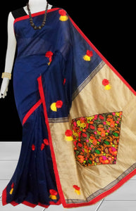 Navy Blue & Beige Color cotton silk saree decorated with flower patch work
