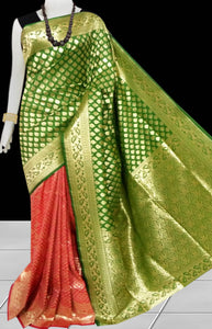 Bursana Coral & green color Opara Silk saree