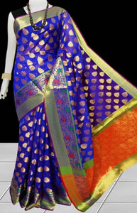 Blue & Orange Color Opara Silk saree, decorated with golden jari work