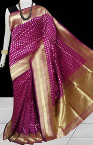 Dark Magenta Color Opara Silk saree, decorated with golden jari work