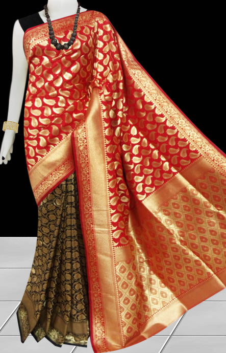 Black, Golden & Red Color Opara Silk saree, decorated with golden jari work