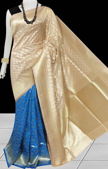Blue & Cream Color Opara Silk saree, decorated with golden jari work