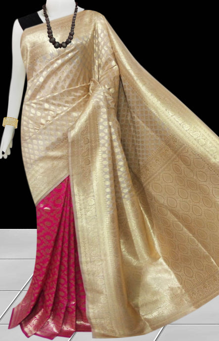 Pink & Cream Color Opara Silk saree, decorated with golden jari work