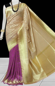Magenta & Cream Color Opara Silk saree, decorated with golden jari work
