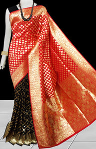 Bursana black & red color Opara Silk saree