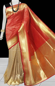 Red & Beige Color Opara Silk saree, decorated with golden jari work