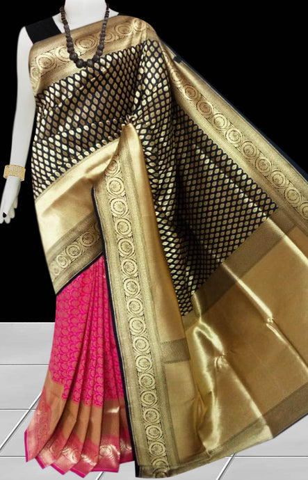 Black & Pink Color Opara Silk saree, decorated with golden jari work