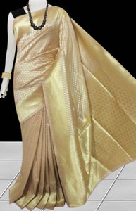 Beige Color Opara Silk saree, decorated with golden jari work