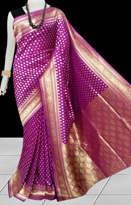 Magenta Color Opara Silk saree, decorated with golden jari work