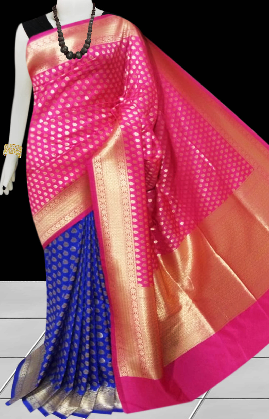 Fuscia & Blue Color Opara Silk saree, decorated with golden jari work