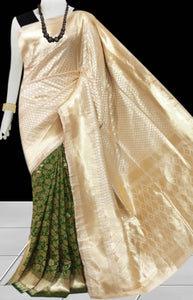 Cream & Dark Olive Color Opara Silk saree, decorated with golden jari work