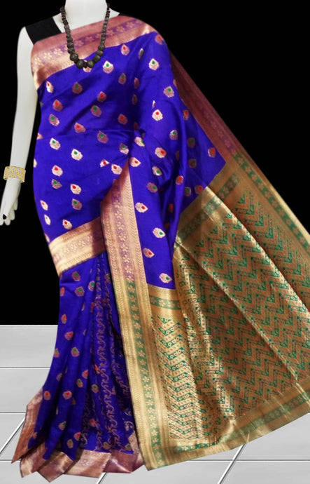 Blue Color Opara Silk saree, decorated with golden jari work