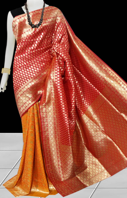 Red & Mustard Color Opara Silk saree, decorated with golden jari work