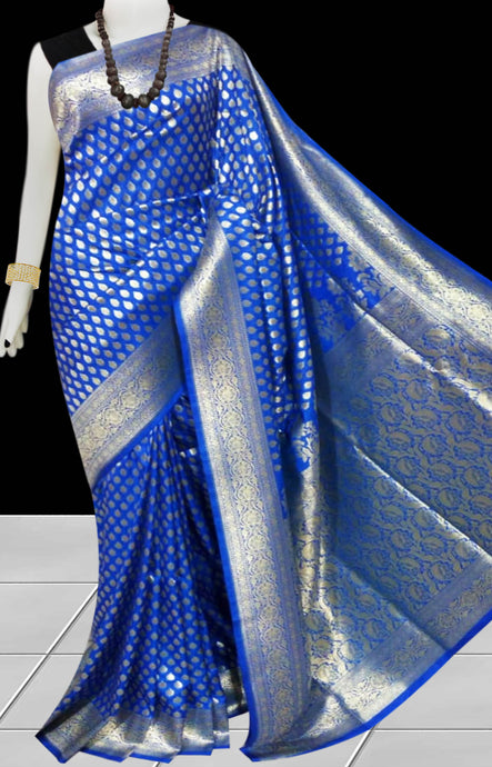Ink Blue Color Opara Silk saree, decorated with golden jari work