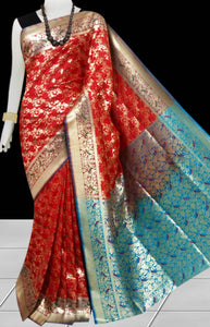 Pure Red Color Opara Silk saree, decorated with golden jari work