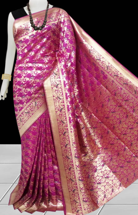 Rani Color Opara Silk saree, decorated with golden jari work