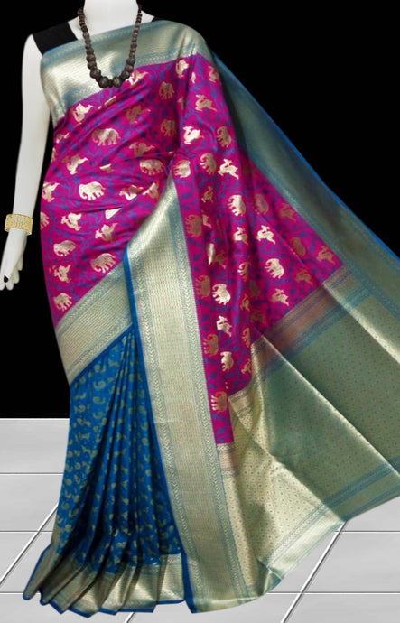 Teal Blue & Dark Pink Color Opara Silk saree, decorated with golden jari work
