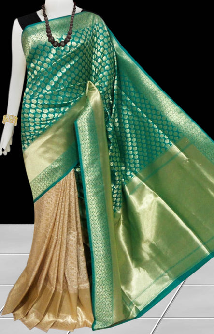 Bursana beige & green color Opara Silk Saree